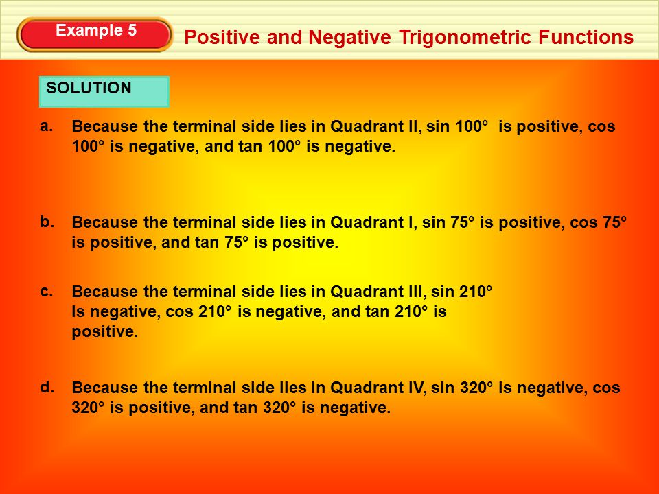 Positive and Negative Trigonometric Functions