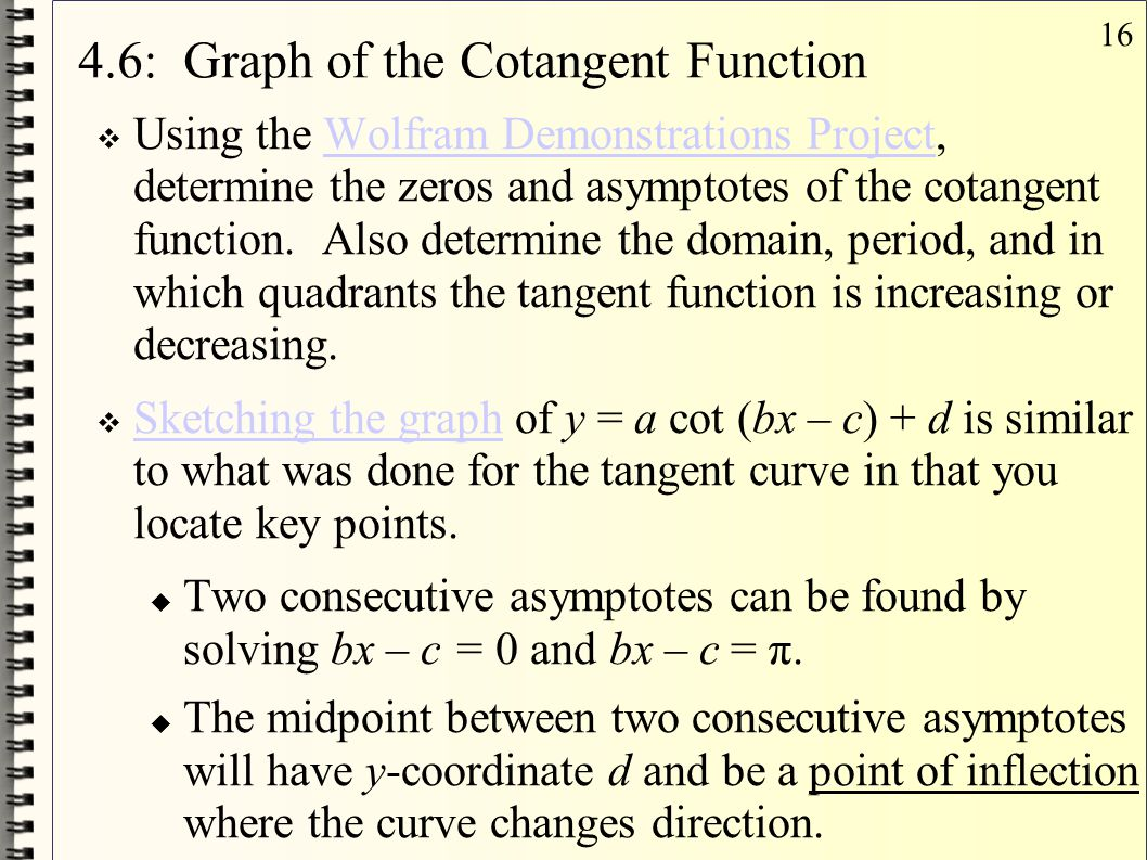 4.6: Graph of the Cotangent Function