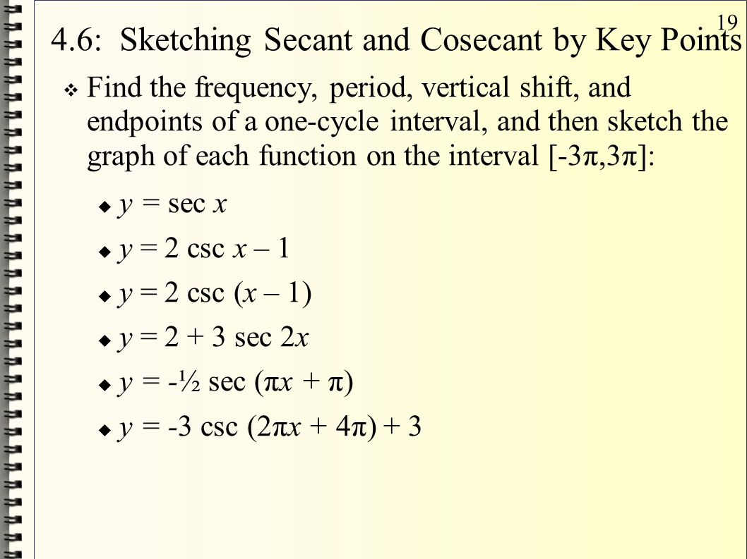 4.6: Sketching Secant and Cosecant by Key Points