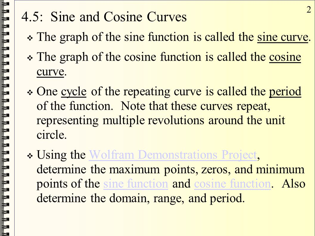 4.5: Sine and Cosine Curves