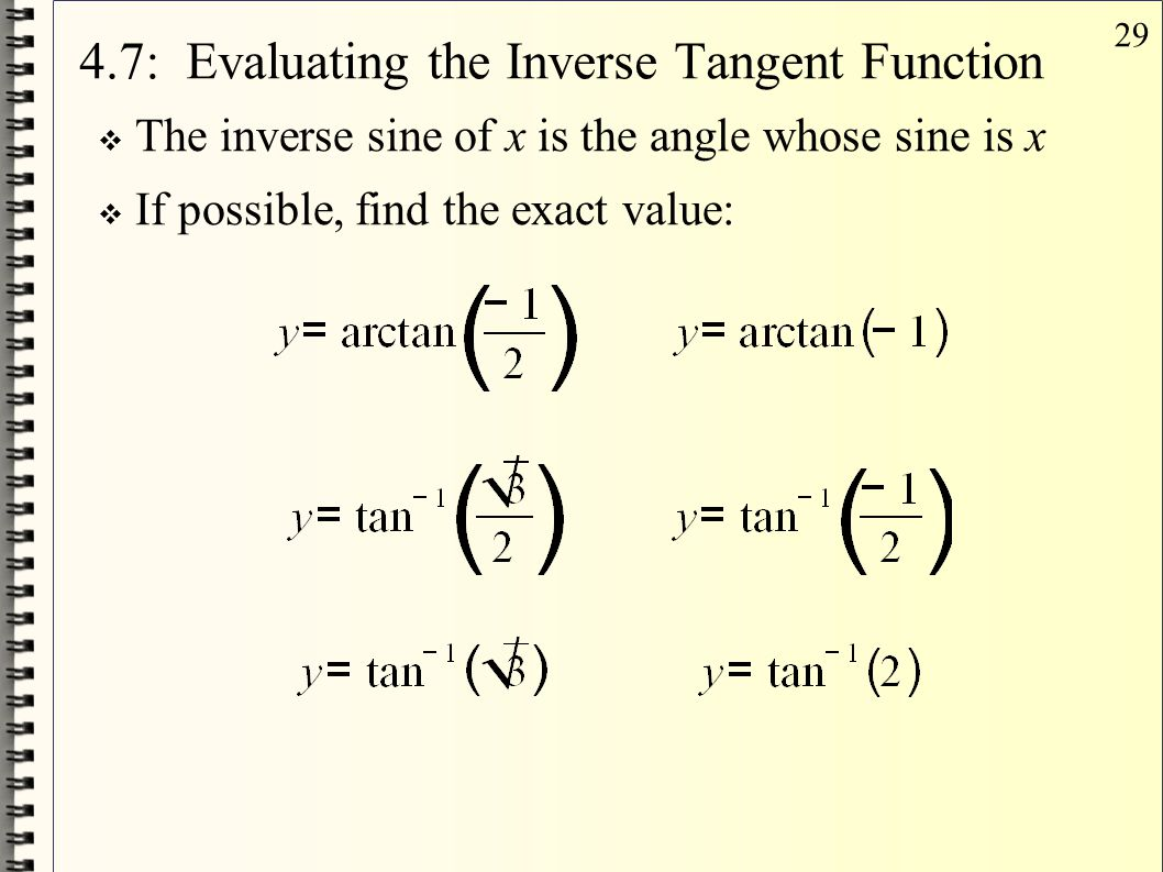 4.7: Evaluating the Inverse Tangent Function