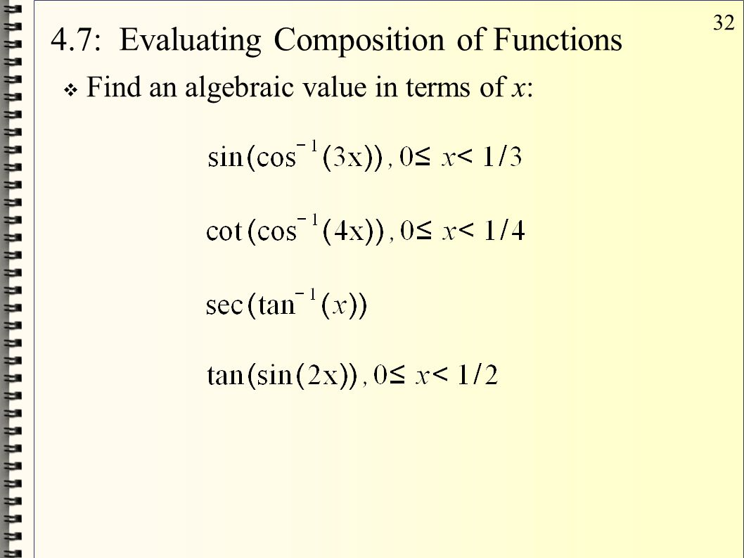 4.7: Evaluating Composition of Functions