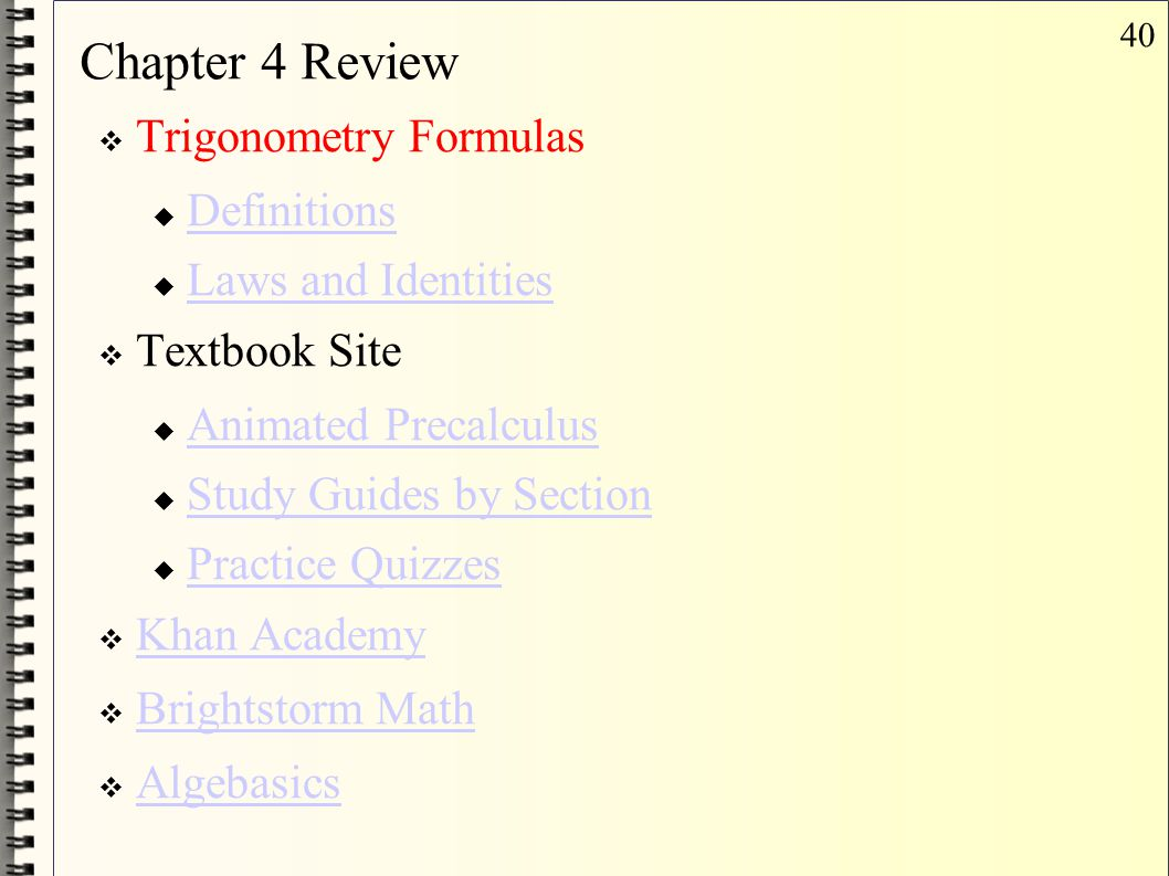 Chapter 4 Review Trigonometry Formulas Definitions Laws and Identities