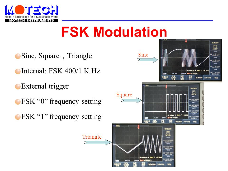 FSK Modulation Sine, Square,Triangle Internal: FSK 400/1 K Hz