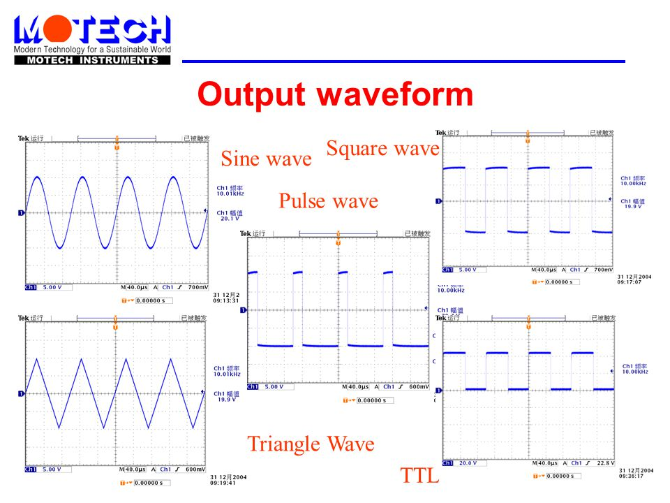 Output waveform Square wave Sine wave Pulse wave Triangle Wave TTL
