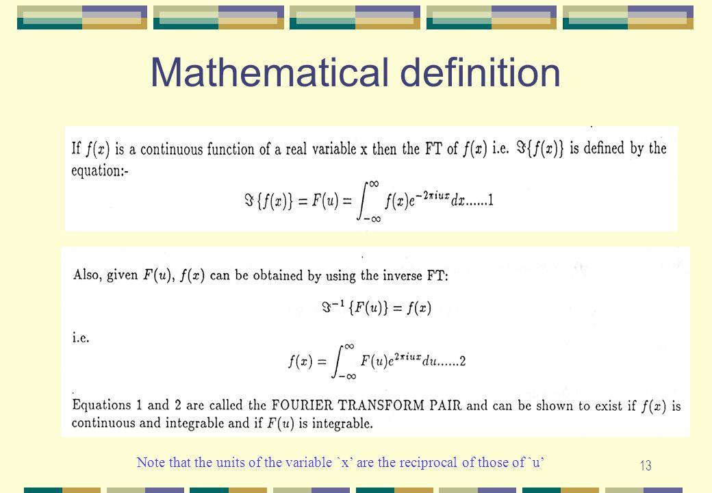 Mathematical definition