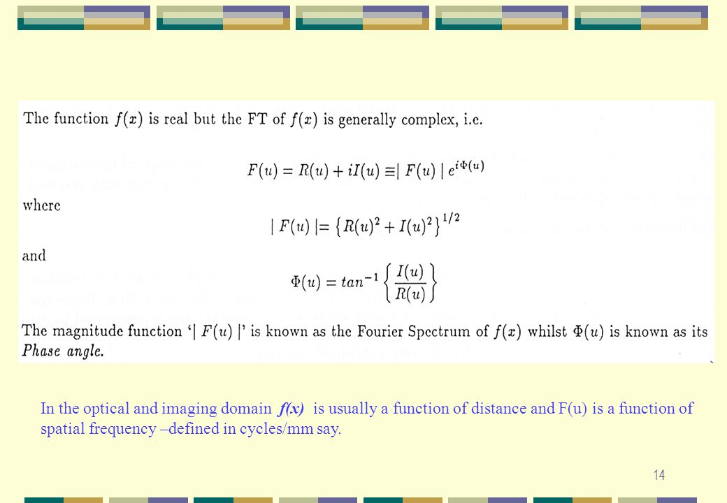 In the optical and imaging domain f(x) is usually a function of distance and F(u) is a function of