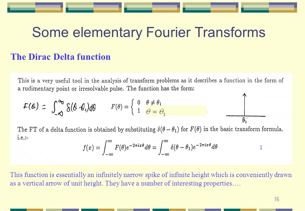 Some elementary Fourier Transforms