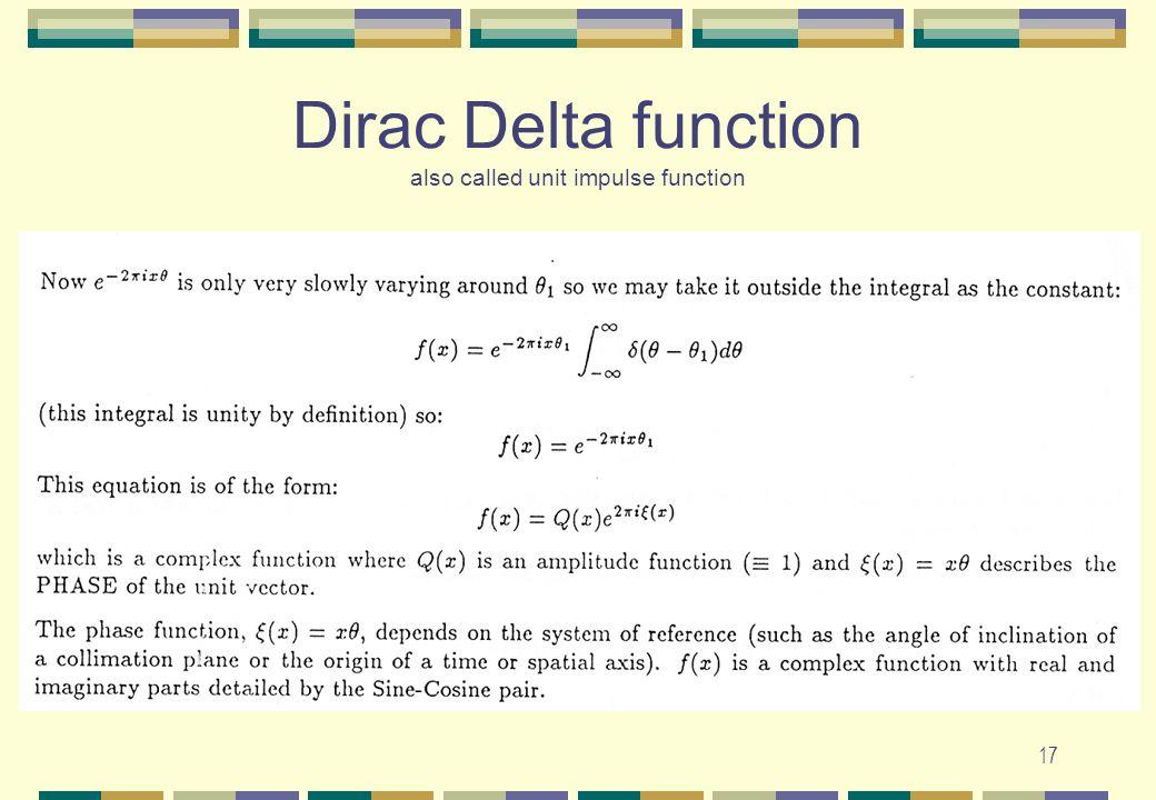 Dirac Delta function also called unit impulse function