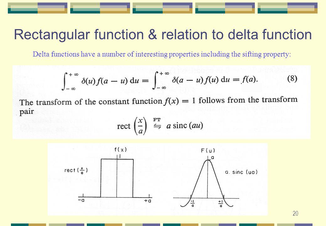 Rectangular function & relation to delta function