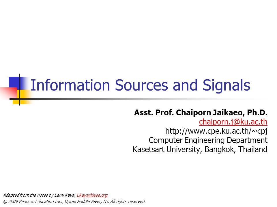 Information Sources and Signals