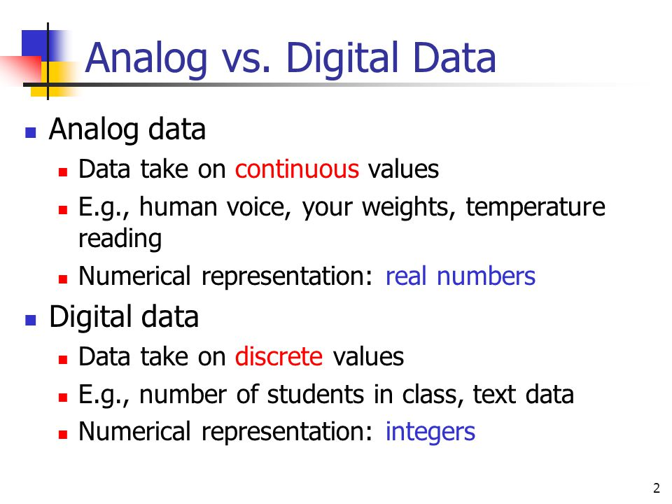 Analog vs. Digital Data Analog data Digital data