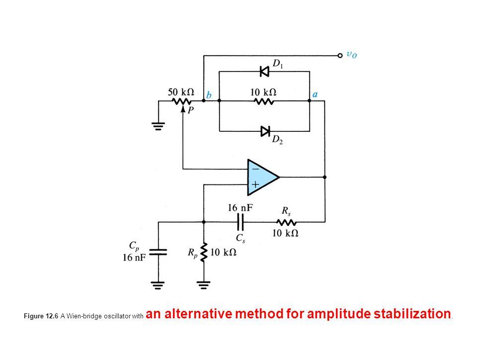 Figure 12.6 A Wien-bridge oscillator with an alternative method for amplitude stabilization.