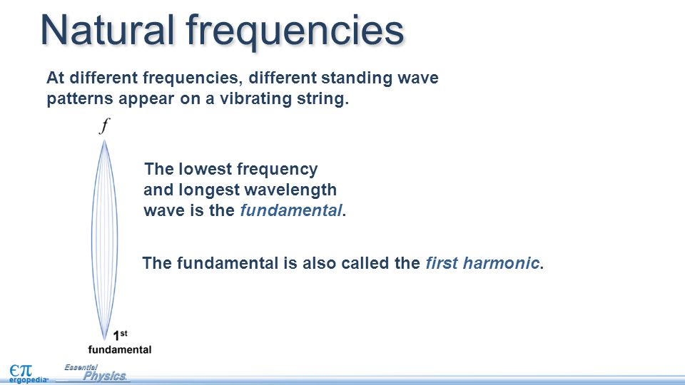 Natural frequencies At different frequencies, different standing wave