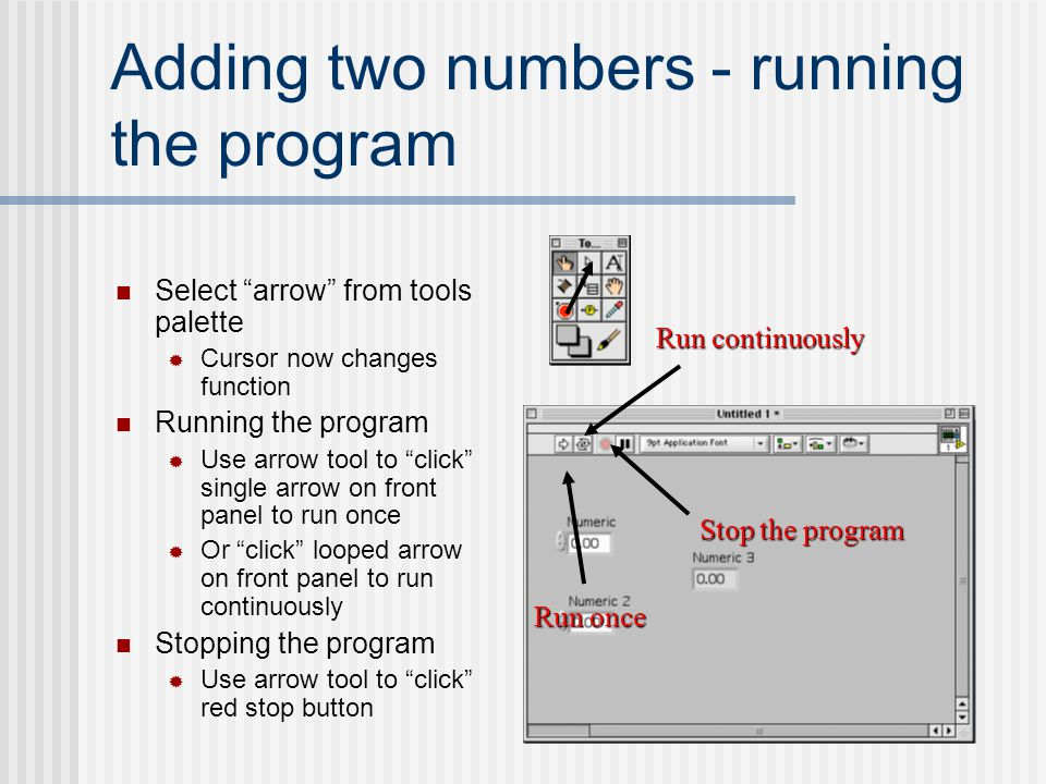 Adding two numbers - running the program
