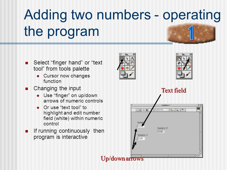 Adding two numbers - operating the program
