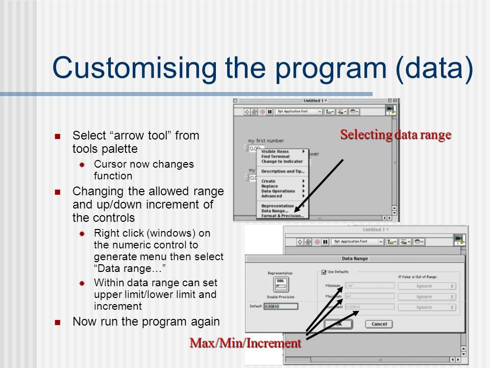 Customising the program (data)