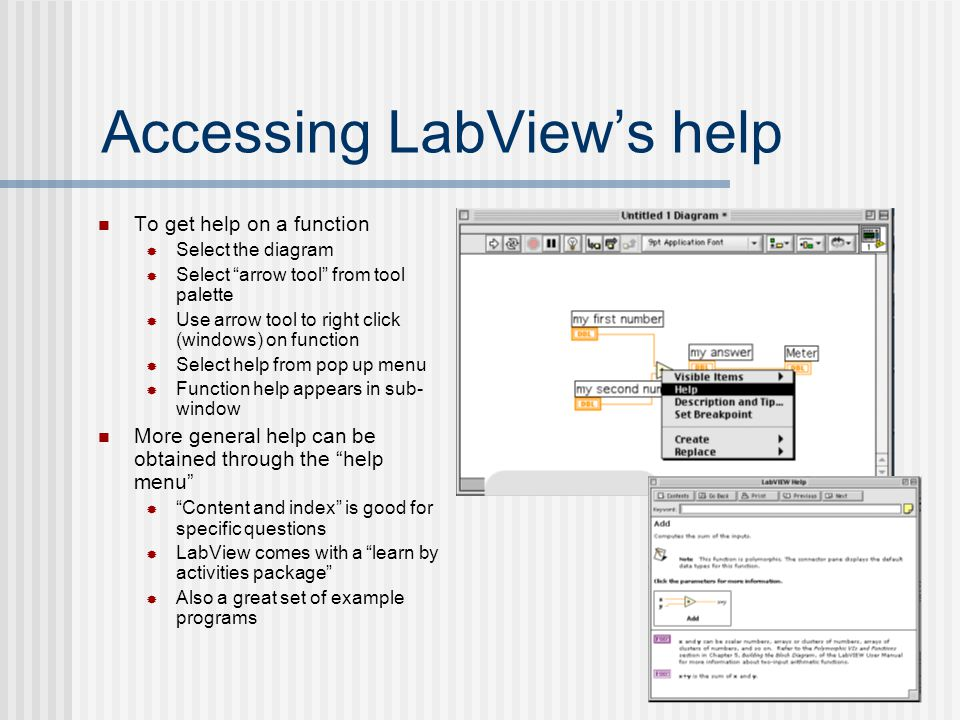 Accessing LabView's help