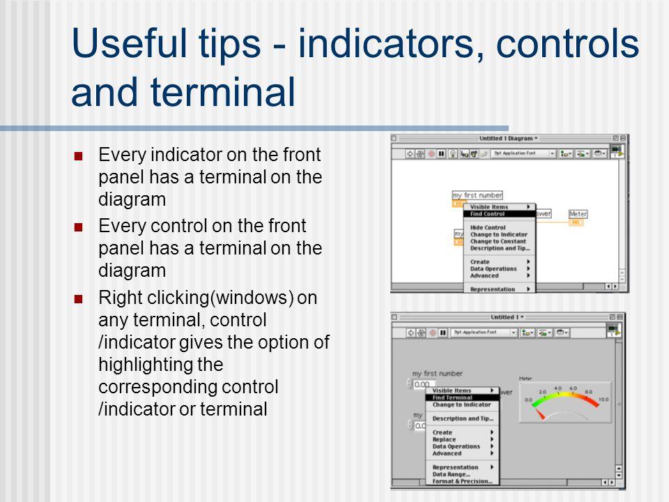 Useful tips - indicators, controls and terminal