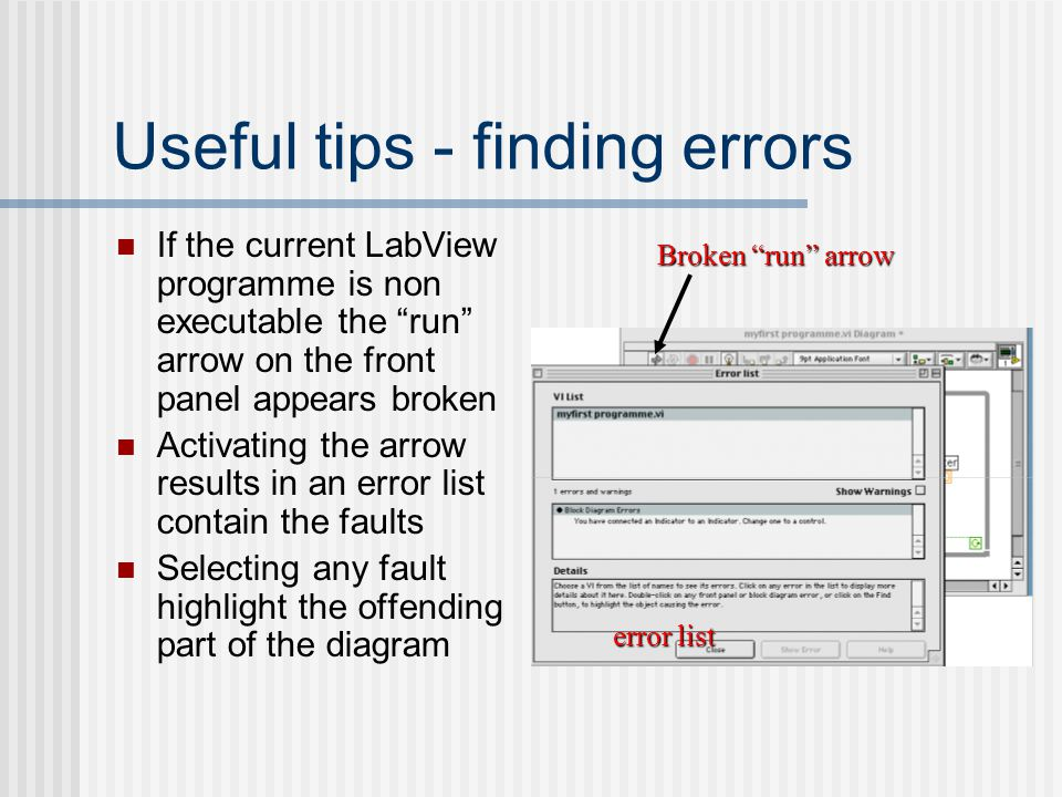 Useful tips - finding errors
