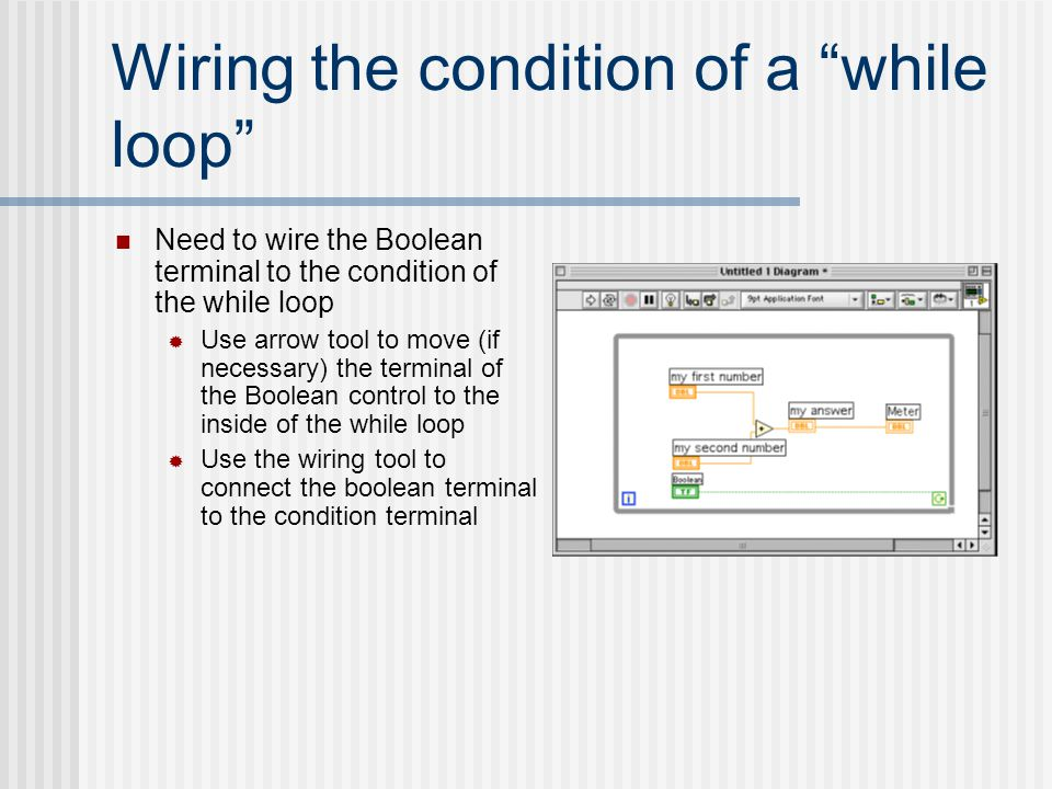 Wiring the condition of a while loop