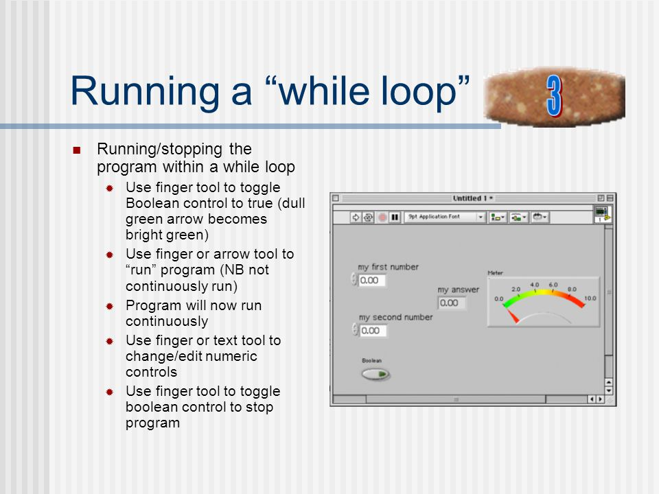 Running a while loop 3. Running/stopping the program within a while loop.