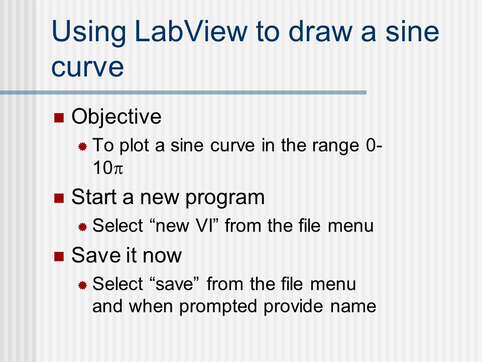 Using LabView to draw a sine curve
