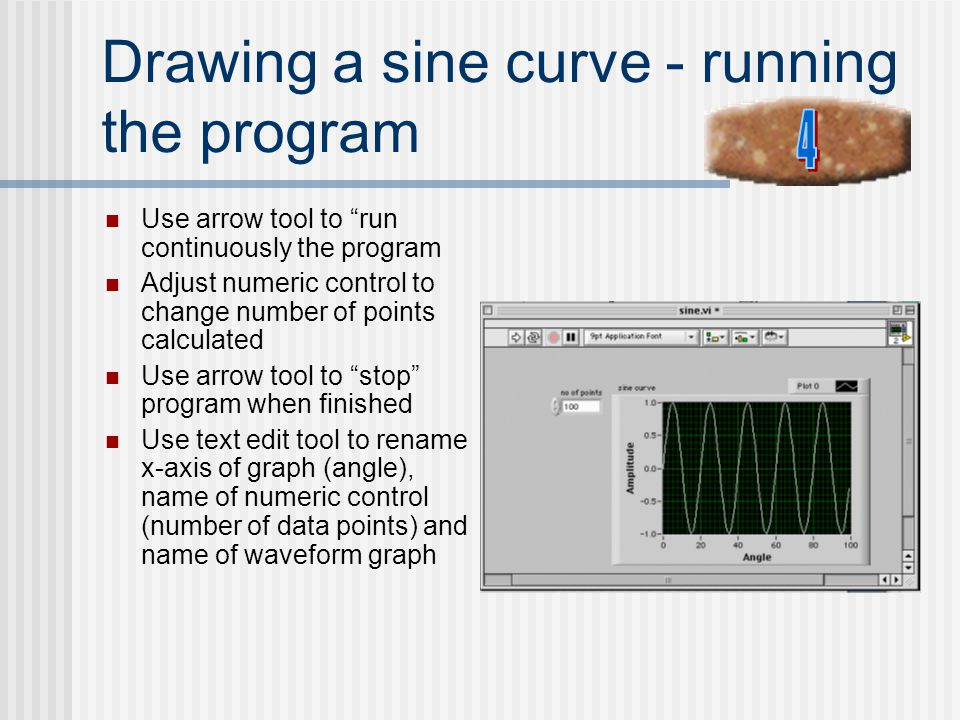 Drawing a sine curve - running the program