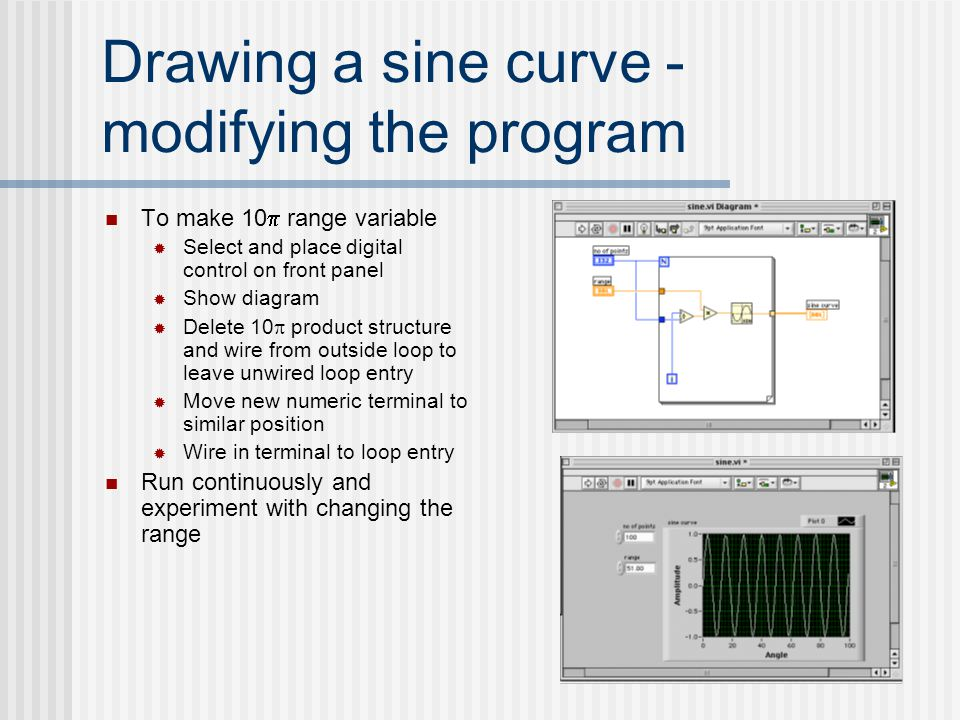 Drawing a sine curve - modifying the program