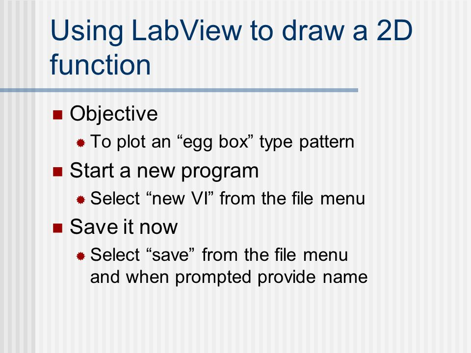 Using LabView to draw a 2D function