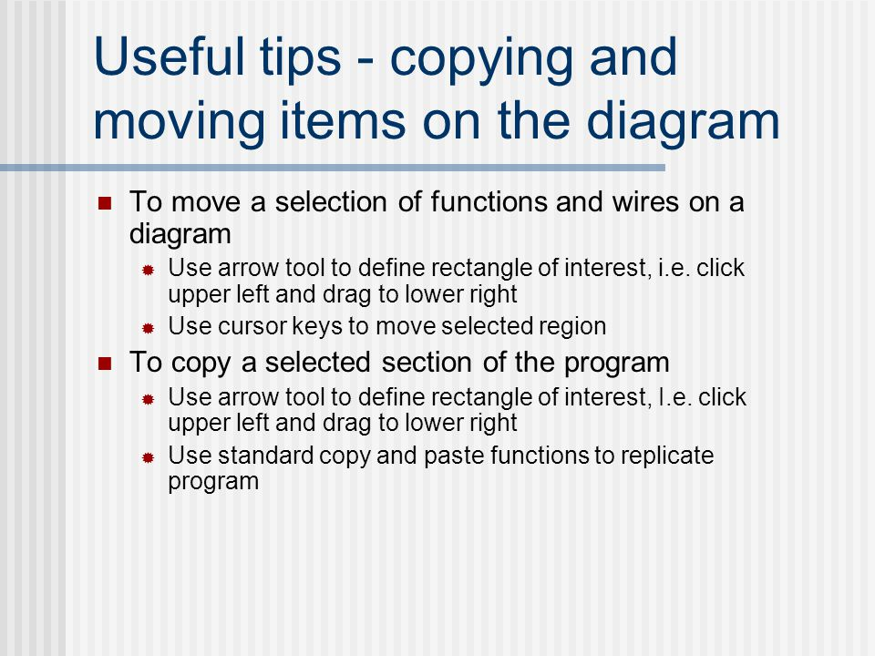 Useful tips - copying and moving items on the diagram