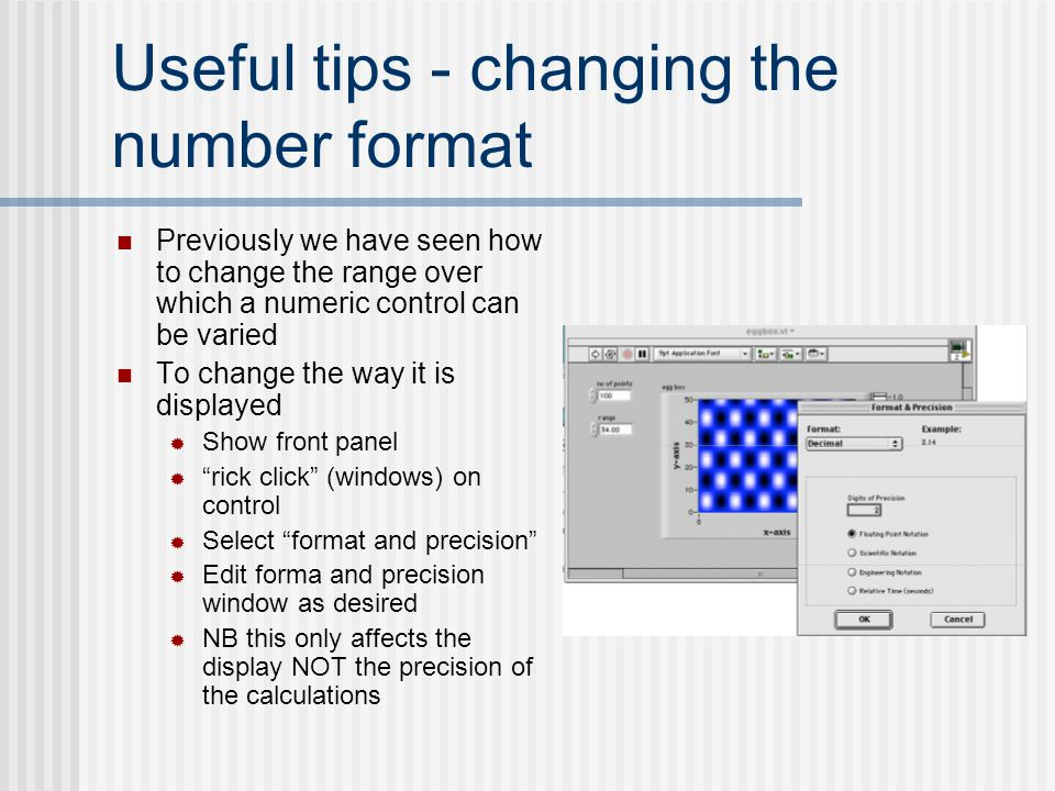 Useful tips - changing the number format