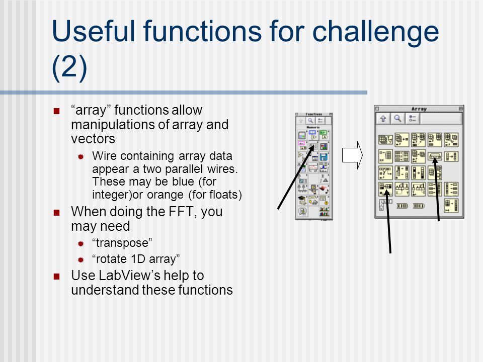 Useful functions for challenge (2)