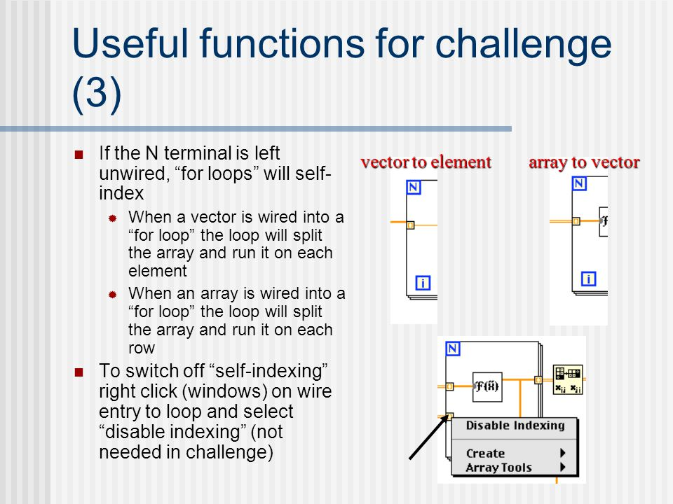 Useful functions for challenge (3)