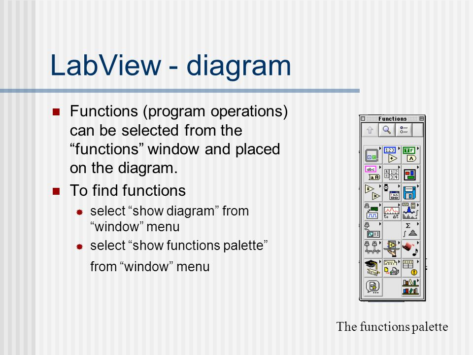 LabView - diagram Functions (program operations) can be selected from the functions window and placed on the diagram.