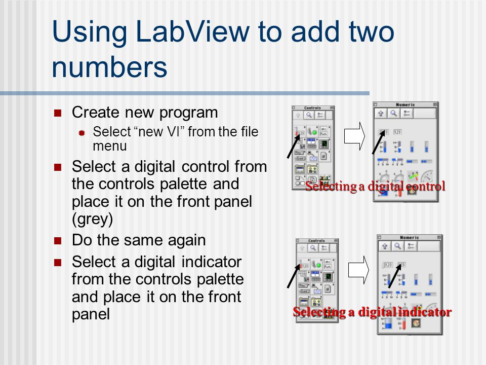 Using LabView to add two numbers