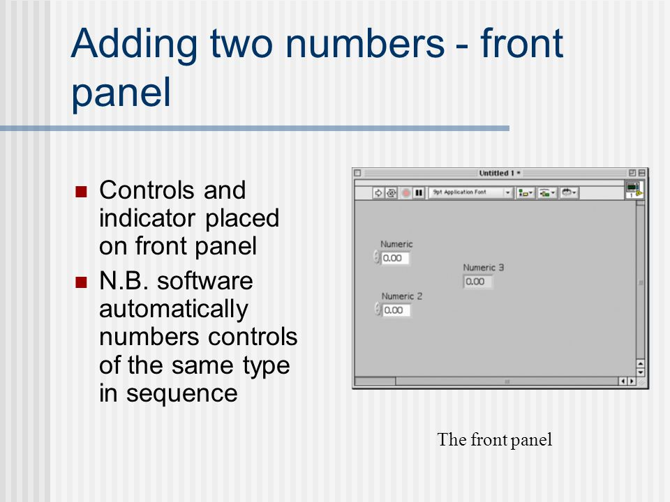 Adding two numbers - front panel