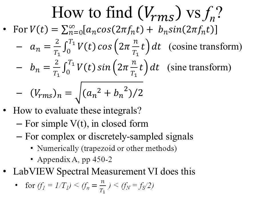 How to find 𝑉 𝑟𝑚𝑠 vs fn For 𝑉 𝑡 = 𝑛=0 ∞ 𝑎 𝑛 𝑐𝑜𝑠 2𝜋 𝑓 𝑛 𝑡 + 𝑏 𝑛 𝑠𝑖𝑛 2𝜋 𝑓 𝑛 𝑡.