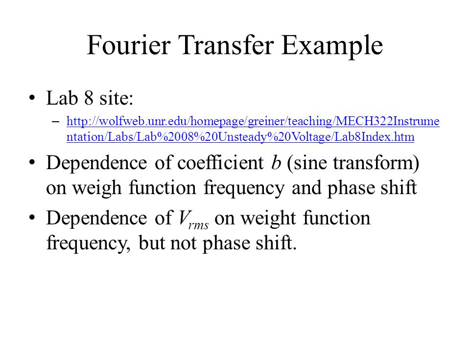 Fourier Transfer Example