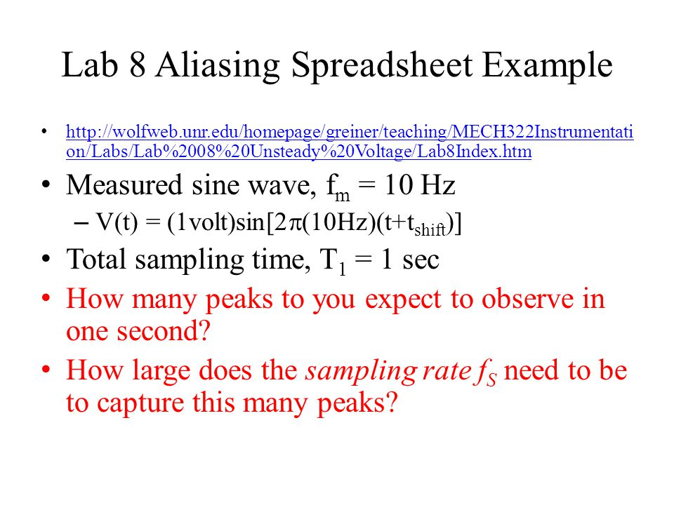 Lab 8 Aliasing Spreadsheet Example
