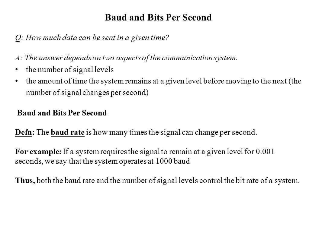 Baud and Bits Per Second