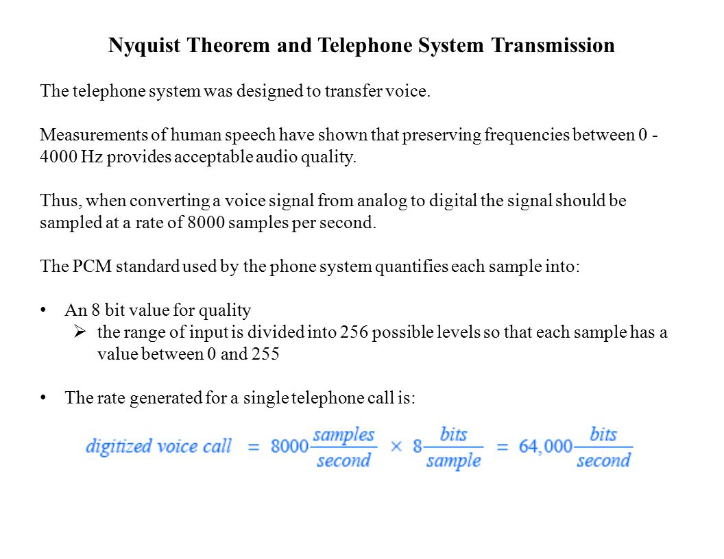 Nyquist Theorem and Telephone System Transmission