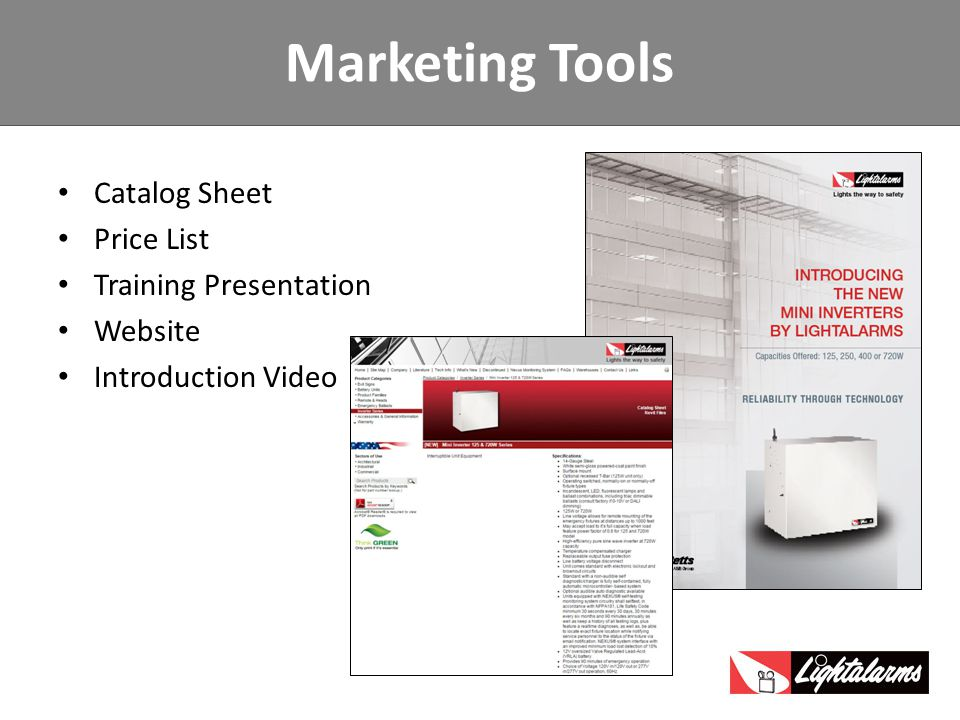 Marketing Tools Catalog Sheet Price List Training Presentation Website