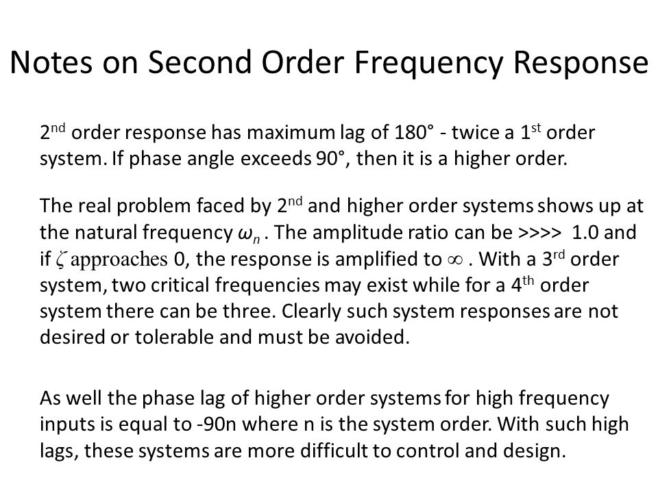 Notes on Second Order Frequency Response