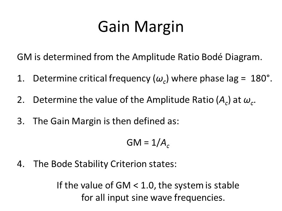 Gain Margin GM is determined from the Amplitude Ratio Bodé Diagram.