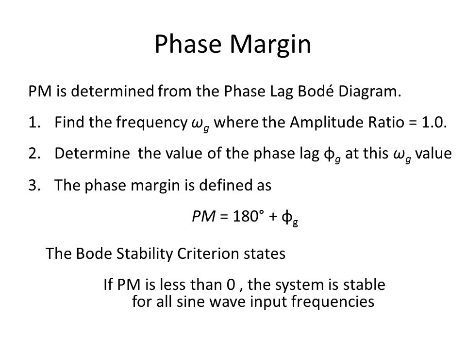 Phase Margin PM is determined from the Phase Lag Bodé Diagram.