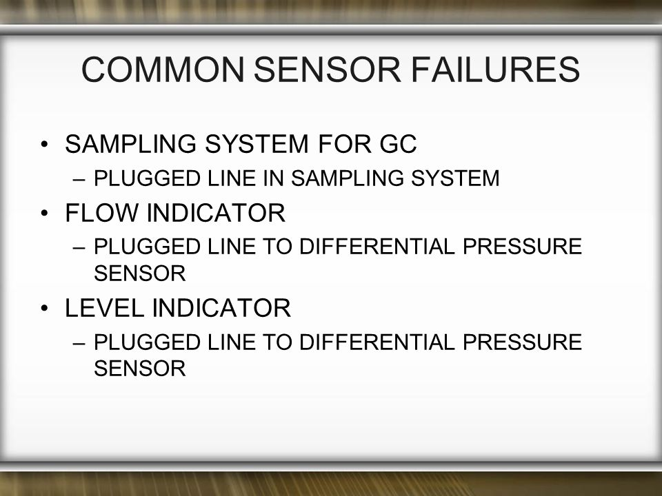 Common Sensor Failures