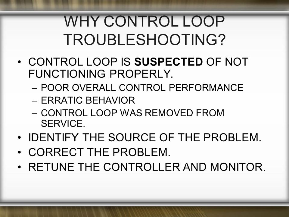 WhY Control Loop Troubleshooting
