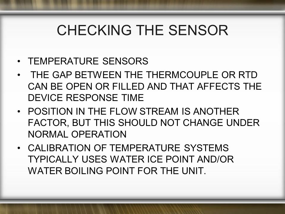 CHECKING THE SENSOR TEMPERATURE SENSORS