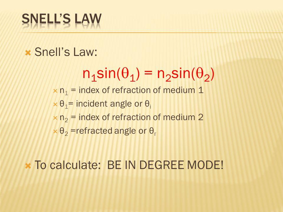 n1sin(q1) = n2sin(q2) Snell's Law Snell's Law: